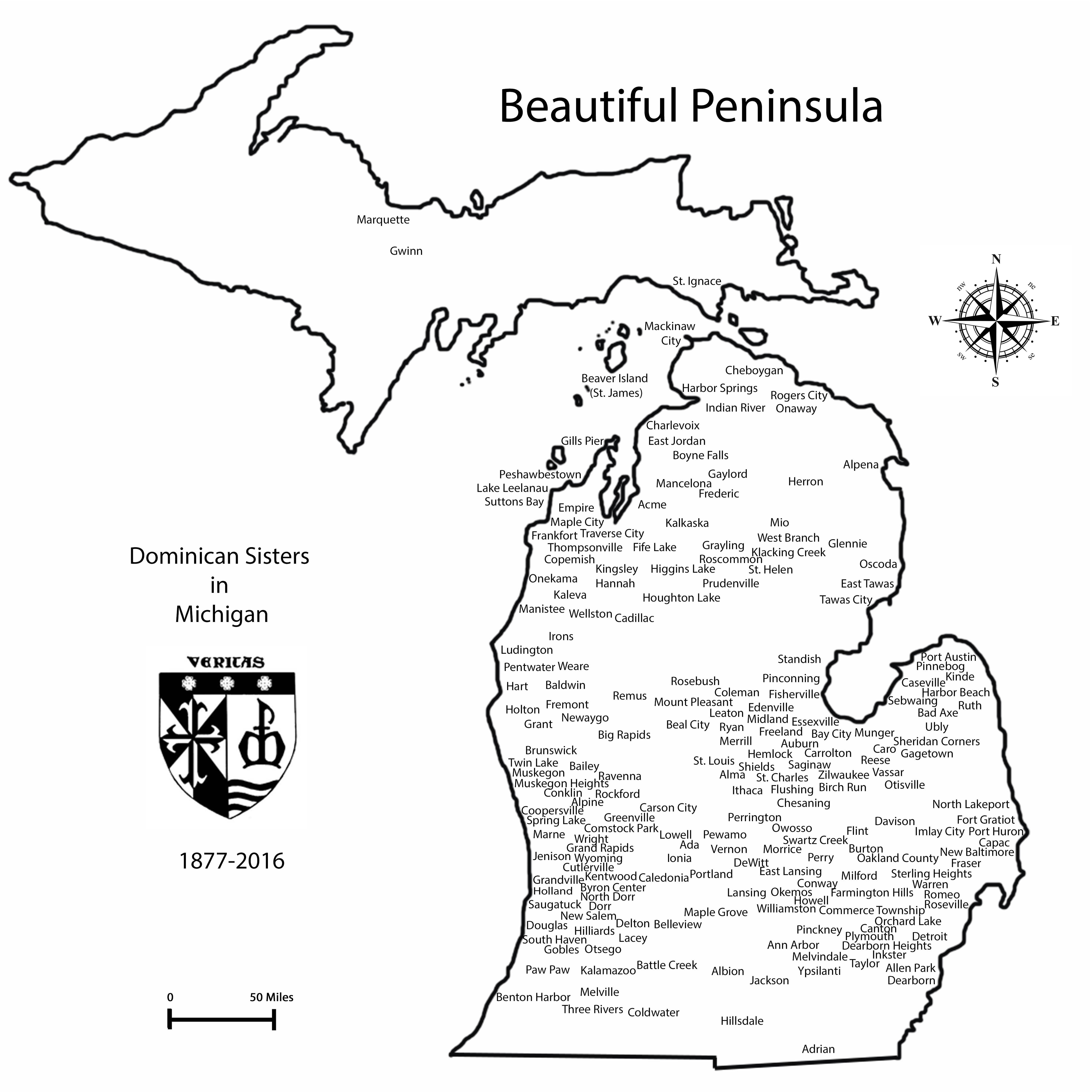 Michigan Map Dominican Sisters