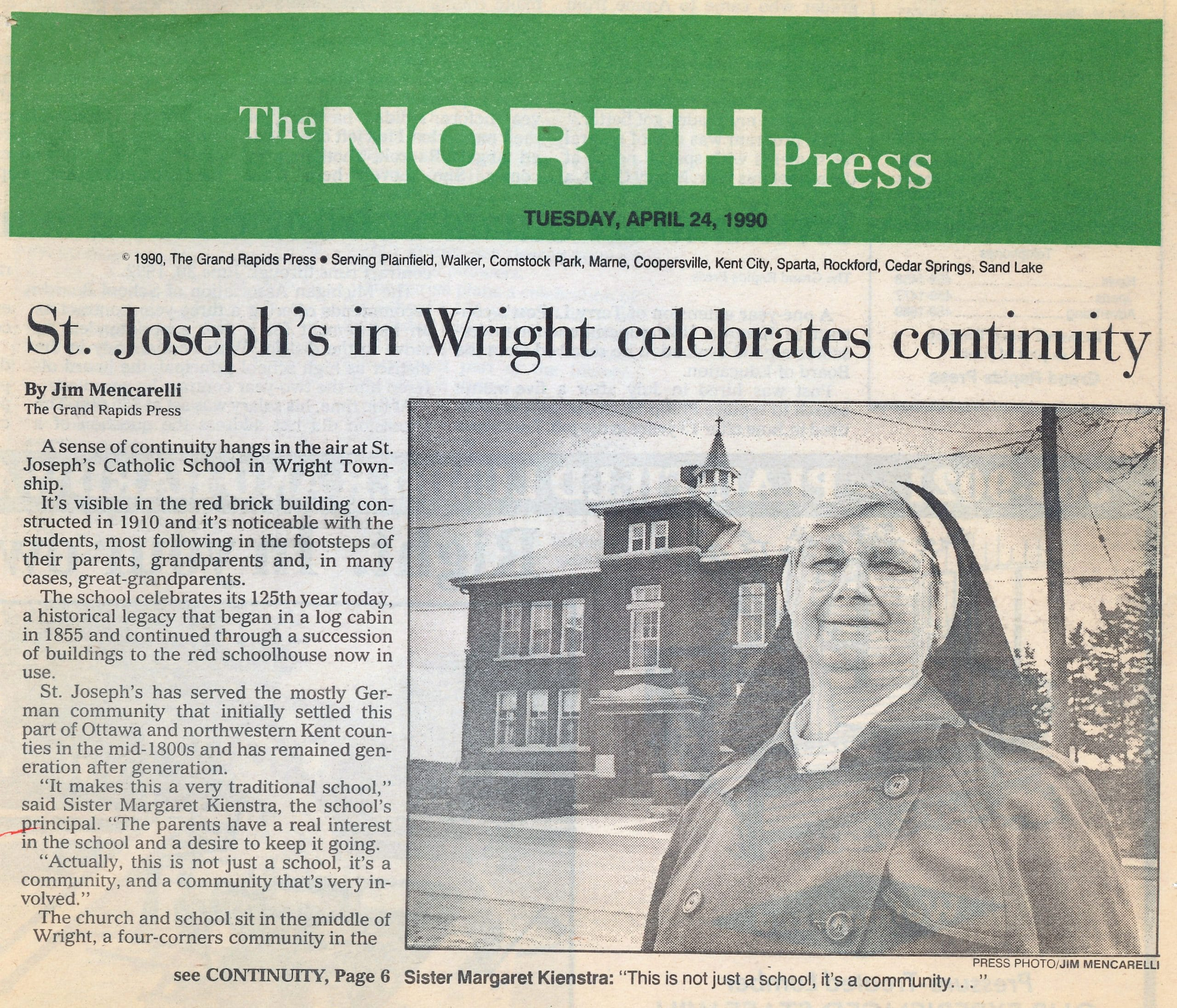 The North Press 1990 features Sr Margaret Kienstra